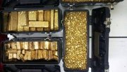 95.96 purity gold dust and bars, uncut diamonds